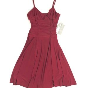NWT Nine West Red Pleated Rouched Braided Dress